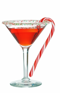 Holiday martini with a candy cane